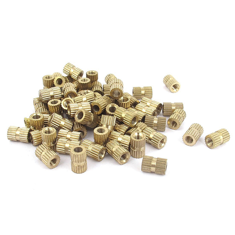 100pcs M3x8mm Stitching Round Metal Endless Screw Thread Insert Dice Brass Tone