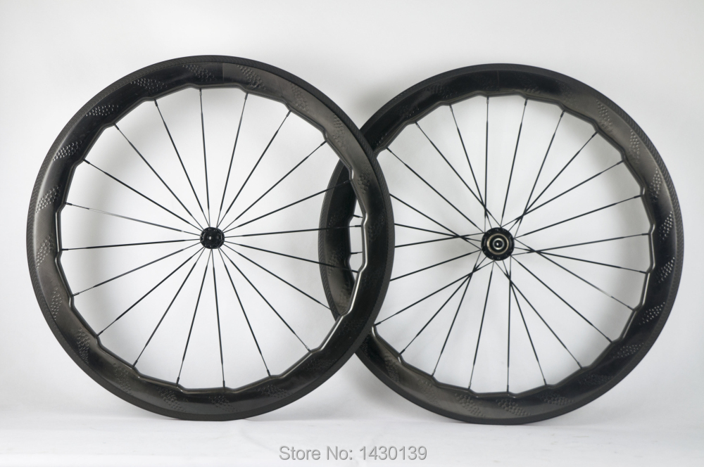 Brand New 454 700C 58mm dimpled Road bike full carbon fibre clincher rim bicycle carbon wheelset