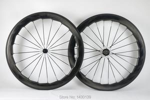 Image 1 - Brand New 454 700C 58 مللي متر دراجة طريق ممزوجة ألياف الكربون كامل حافة دراجة الكربون العجلات moonscape متموج الغراب السفينة حرة