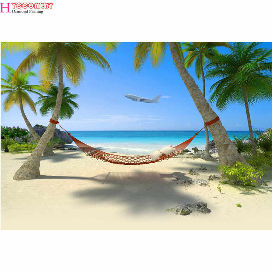 5d DIY round Diamond Painting full square Cross Stitch Tropical beach scenery Diamond Embroidery Diamonds Decorative gift