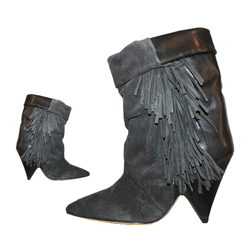 Knsvvli kid suede fringe donne di stile strano tacco alto corta a pieghe stivali punta a punta autumm slip on moda scarpe pista delle donne-in Stivaletti da Scarpe su  Gruppo 2