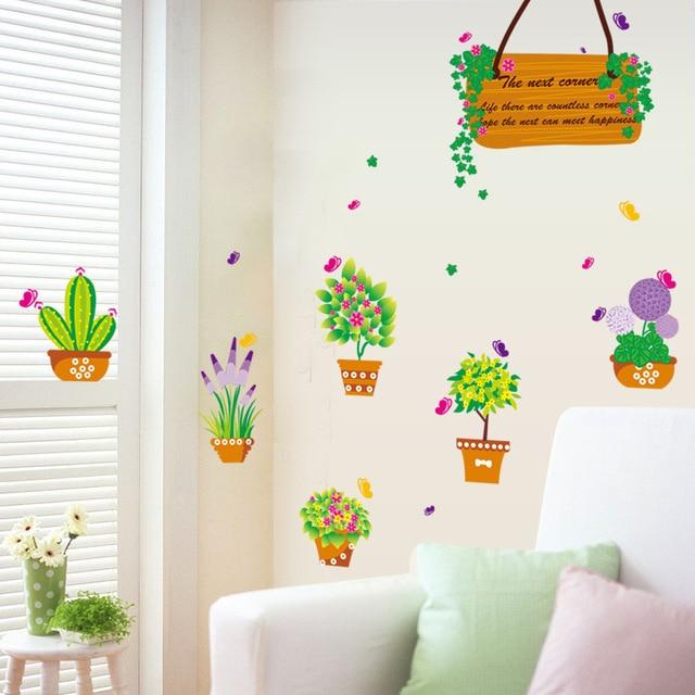 Dibujos de pared con macetas casa dise o for Pegatinas pared ninos