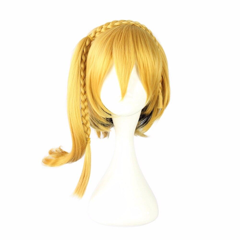 Mcoser 35 Cm Gelb Farbe Kurze Synthetische Cosplay Perücke 100% Hochtemperaturfaser Haar Wig-555k Haarverlängerung Und Perücken