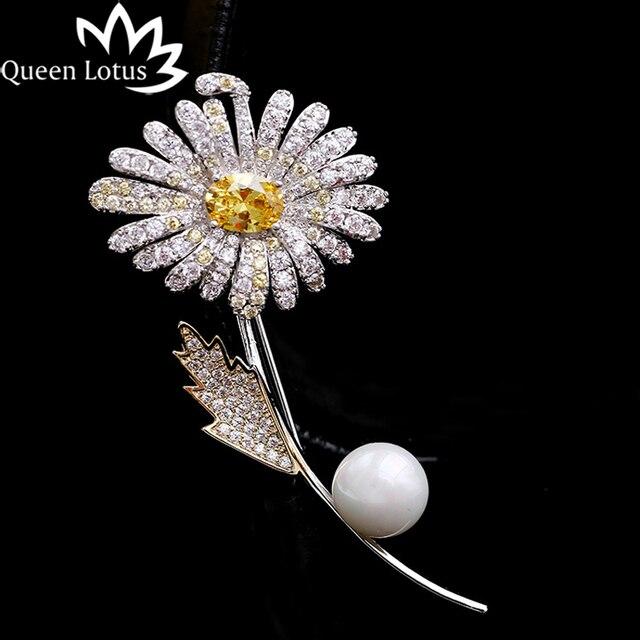 c6e70a23bca3 Queen Lotus girasol moda perla broches para las mujeres de plata de Color  boda joyería AAA