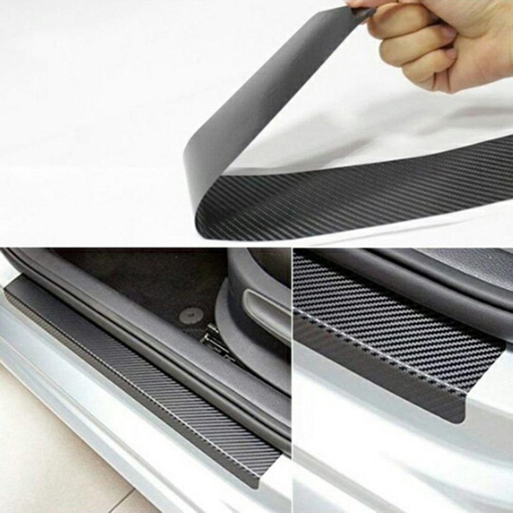 4Pc Black 3D Car Door Sill Scuff Cover Protective Sticker Anti Scratch Universal