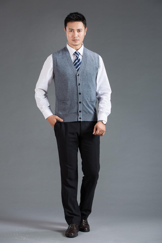 New Autumn fashion middle age mens sweater vest deep v neck plain ...