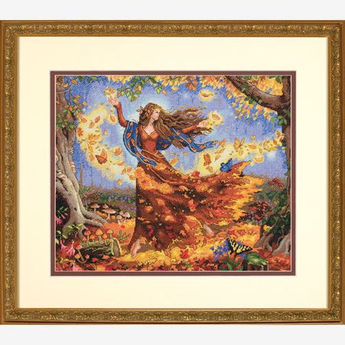 CS-1509 Cross Stitch Kit Fall Fairy dim 35262 autumn fairy goddess.jpg