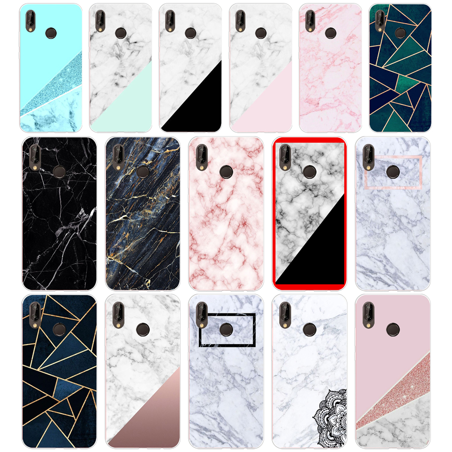 104sd Roze Blauw Inkt Marmer 03 Zachte Siliconen Tpu Cover Case Voor Honor 10 Huawei P Mate 10 20 Lite Y5 Y6 Prime 2018