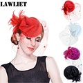 A251 Womens feather veil Wool Felt Fascinator Cocktail Hat Wedding Party