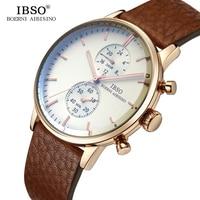 IBSO Top Brand Luxury Mens Watches 2018 High Quality Genuine Leather Strap Quartz Watch Men Sapphire