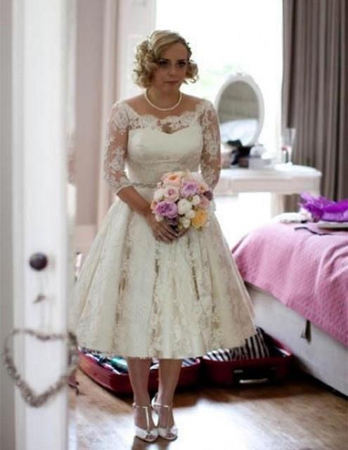 Beaded Tea Length Wedding Dresses