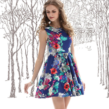 Floral Print High Waist Bohemian Style Dress