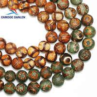 CAMDOE DANLEN Natural Stone Brown Frost Tibetan Dzi Buddha Beads 8 10 12MM Tortoise Shell Loose beads Fit Diy for jewelry Making