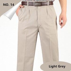 Image 3 - ชายกางเกงบางฤดูร้อนฝ้ายตรงกางเกงPlusขนาด 40 42 44 46 ธุรกิจHombre PantolonสีขาวBeigeสีเทาDarkกางเกงสีฟ้า