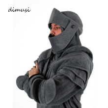 DIMUSI Men's Hoodies Tracksuit Autumn Winter Elbow Drawstring Mask Hooded Sweatshirt