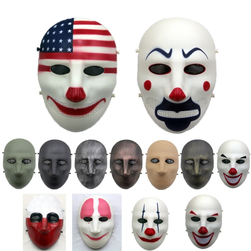 ZJZ09 Payday Clown Military Tactical  Skull Full Face Mask CS Wargame Halloween Cosplay Party Paintball Airsoft Protective Mask
