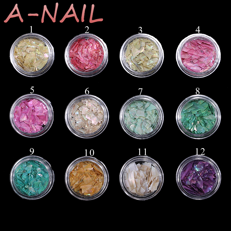 12pots Beautiful Texture Natural Sea Shell 3d Charm Nail Art Decoration Slice DIY Beauty Salon Nail Decals Tools 3d 12 candy colors glass fragments shape nail art sequins decals diy beauty salon tip free shipping