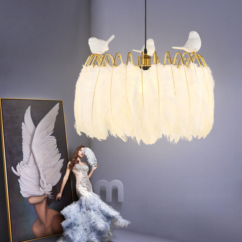 Pendant Lights Feather Lamp feather light shade Bedroom Living Room Parlor Hanging Lamp E27 12W 24W