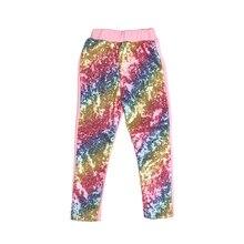 Lentejuelas arcoíris con mallas de fondo rosadas/pantalones de Bebé/pantalones Preppy leggings de unicornio