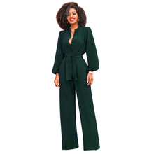 ФОТО women elegant jumpsuits long sleeve turn-down collar v-neck wide leg pants rompers with sashes runway party jumpsuits overalls