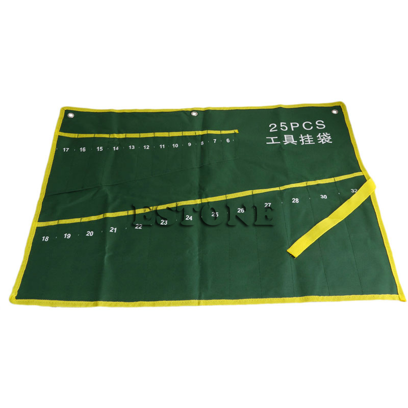 25 Pockets Durable Canvas Spanner Wrench Tool Roll Up Storage Bag