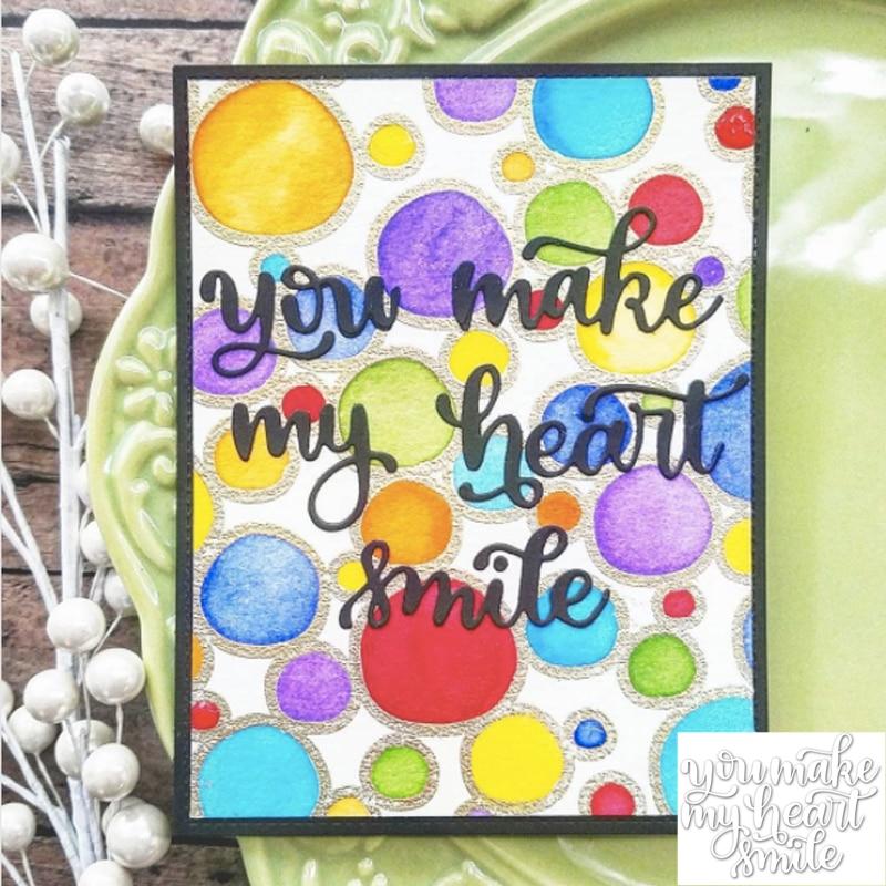 You Make My Heart Smile Words Pattern Metal Cutting Dies Stencil