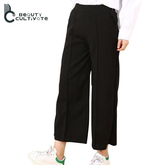 Nove cor A193 na nova primavera e verão Cintura Larga perna Calças calças de todos os jogos do sexo feminino Coreano moda casual seção fina tamanho