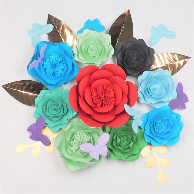 2018 diy giant paper flowers backdrops 2018 half made large flower 9 2018 diy giant paper flowers backdrops 2018 half made large flower 9 leaves 6 butterfly 8 mightylinksfo