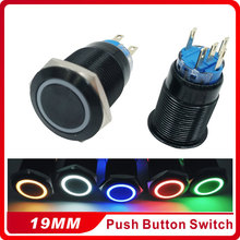 Black 5 Pin 19mm 5V 12V 24V 220V Led Light Metal Push Button Momentary Switch Mayitr Durable Waterproof 1NO 1NC ON/OFF Switches