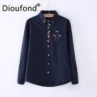 Dioufond Solid White Women Blouses 2017 Autumn Button Down Shirts Long Sleeve Turn Down Collar Shirt