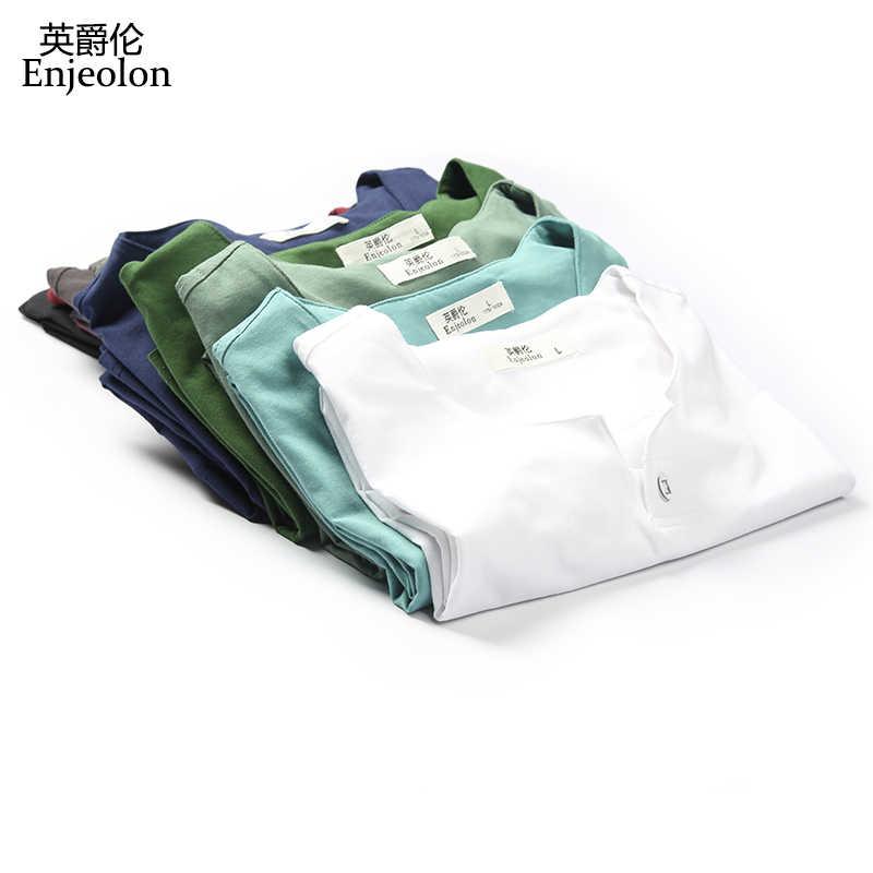 Enjeolon מותג 2019 T חולצה גברים קיץ קצר שרוולים מוצק צבע לבן Slim Fit מקרית זכר חולצות בתוספת גודל 4XL טי חולצה T1531