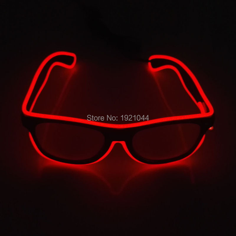 Hot Sales Glow Party Supplies Red EL Wire Glasses+DC-3V Steady on Drive Glowing Product  ...