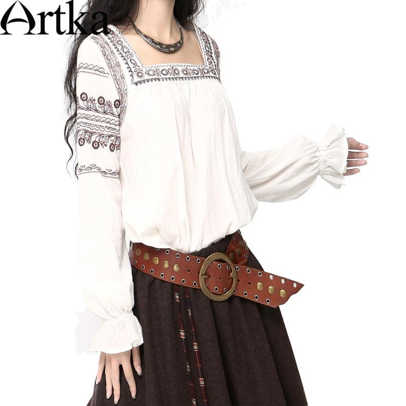 ARTKA femmes Style ethnique gracieux motif de broderie nationale col carré élastique à manches longues lanterne chemise SA10047C