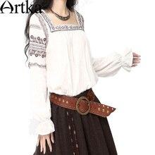 Das Artka mulheres étnico estilo elegante nacional bordado praça elásticas lanterna luva SA10047C
