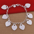 Fashion Smooth Love Heart Tag Charm Bracelet for Women 925 Sterling Silver Bracelets Female Hand Chain Wristband pulseira Gift