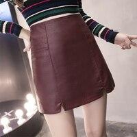2017 New Fashion Spring High Waist PU Faux Leather Women Skirt Gray Black Wine Red Zipper