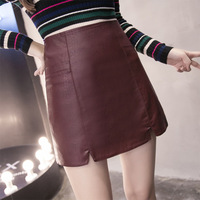 2017 New Fashion Spring High Waist PU Faux Leather Women Skirt Gray Black Wine Red Zipper