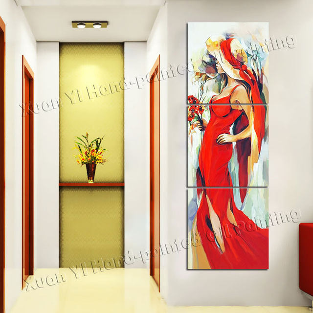 Online Shop 3 Panel Hand Painted Sexy Beauty Women Girls Painting ...