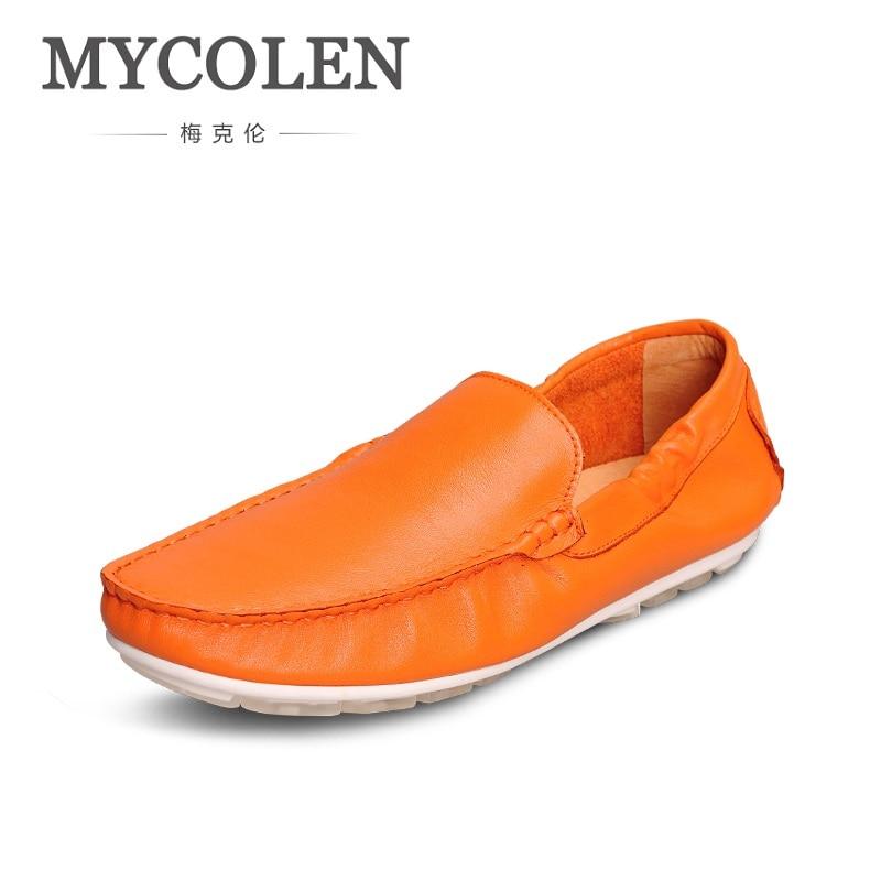MYCOLEN Men Shoes Fashion Leisure Genuine Leather Breathable Men's Flats Shoes Slip-On Men Loafers Zapatos Hombre Casual 2018 summer fashion men canvas shoes espadrilles men casual shoes slip on breathable loafers men flats shoe zapatos hombre