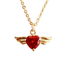 2019 Women Fashion  Jewelry Exquisite Romantic Red Heart Zircon Golden Colour Water-wave Chains Necklace 3272