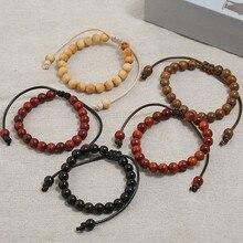Tibetan Buddhist Bracelet Hand Braided Lucky Knots Natural 8mm Wood Beads Handmade