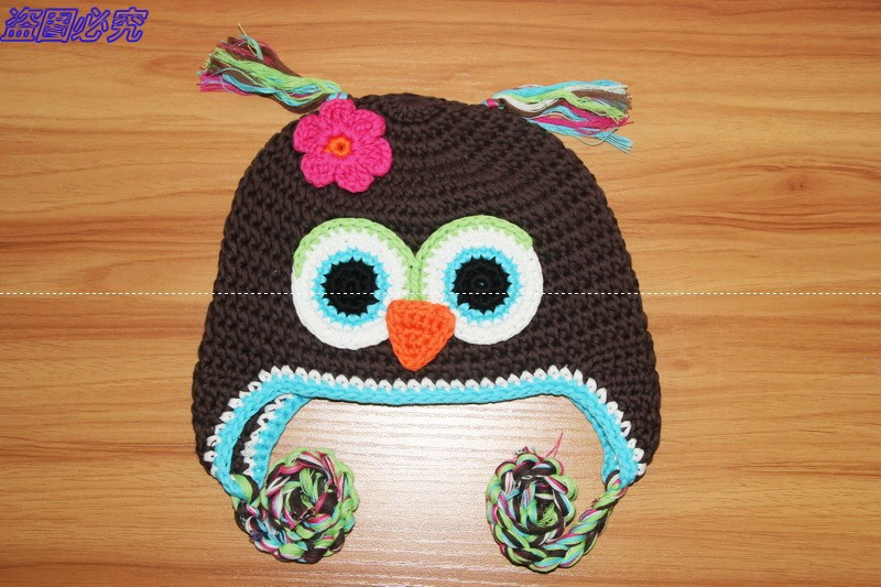 free shipping lovely baby crochet earflaps hat 100 cotton handmade