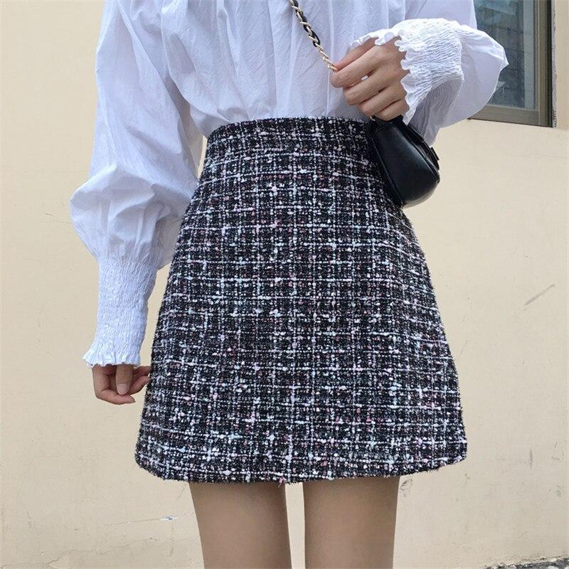 Vintage Winter Tweed Skirts Women Autumn Mini Pencil Skirts Plaid Wool Skirts Korean Bodycon High Waist Elegant Tweed Skirt Lady
