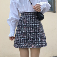 Vintage Winter Tweed Skirts Women Autumn Mini Pencil Skirts Plaid Wool Skirts Ko