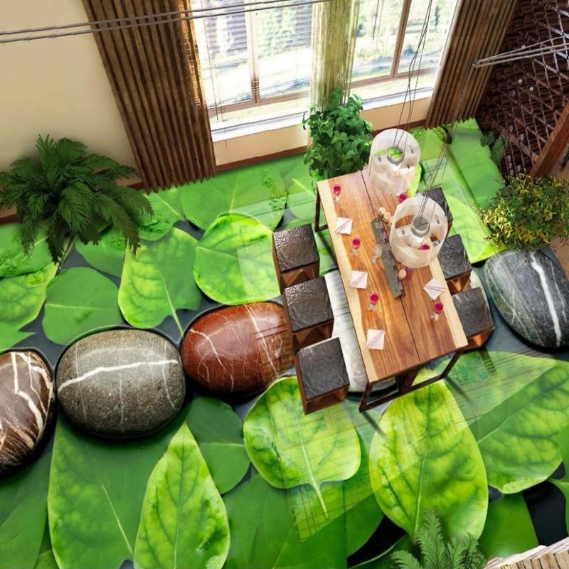 Free Shipping cobblestone water walking 3D Floor Painting living room bedroom custom stereo green leaf floor mural