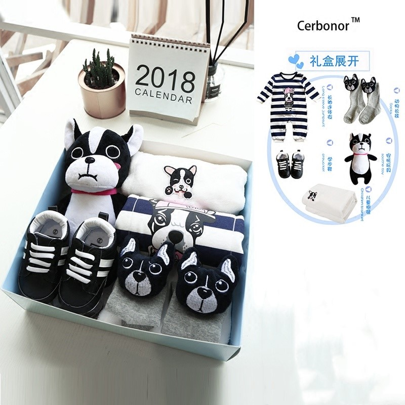 Baby Full Moon Gifts 100% Cotton Gift Law Bucket Pattern Spring And Summer For Newborn Baby Set Gift Box Cartoon Suit