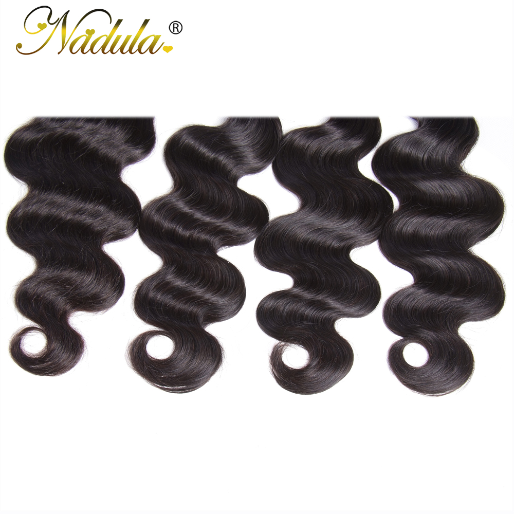 Nadula Body Wave Bundles With 4*4 Free Part/Middle Part/Three Part Lace Closure Indian Hair  Hair Bundles With Closure 5