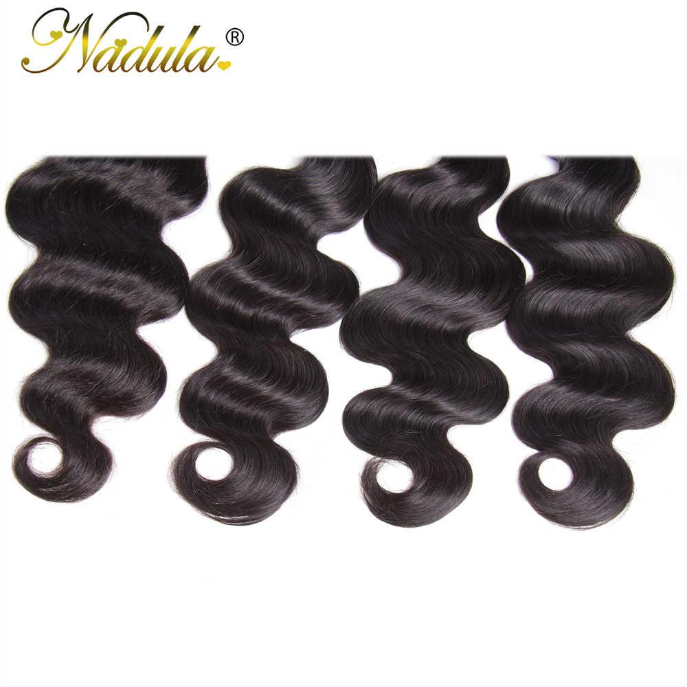 Mechones de ondas corporales Nadula con 4x4 parte libre/parte media/tres Cierre de malla con división mechones de pelo Remy indio con cierre