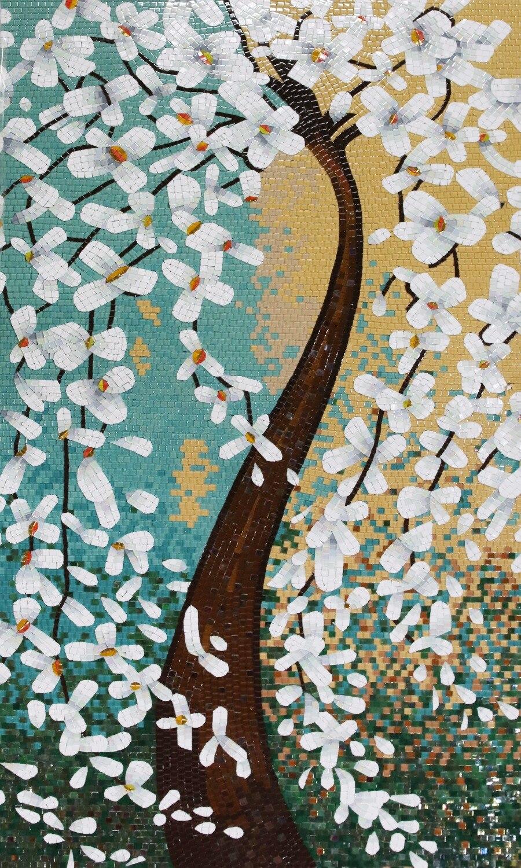 Piastrelle Cucina Con Fiori fiore bianco albero marrone piastrelle di vetro mosaico di