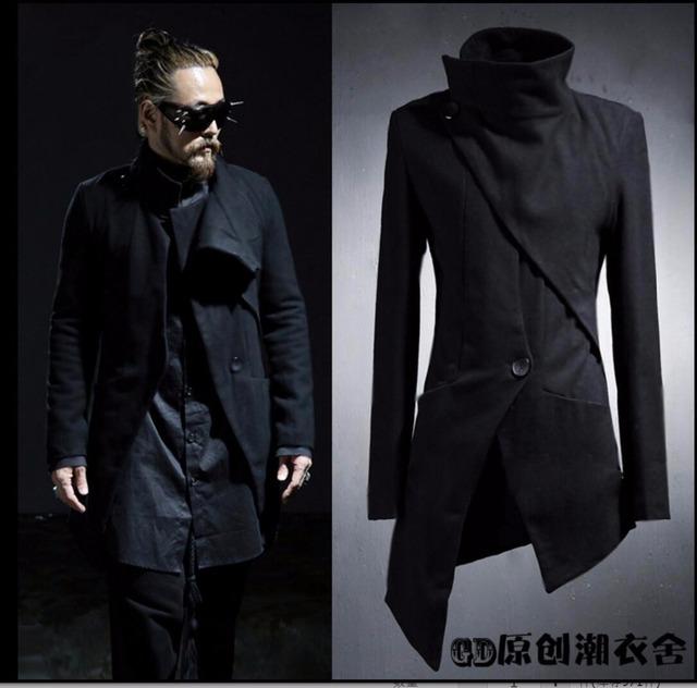 M-5XL New Original não-mainstream personalidade hairstylist longo trench coats assimétrica trincheira outerwear roupas plus size